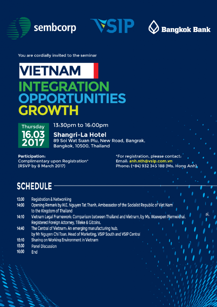 SEMINAR: Vietnam: Integration – Opportunities – Growth – ATDP